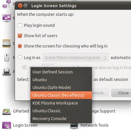 Change default log in session